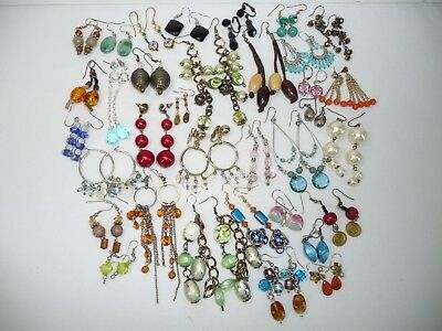Estate Vintage to Now Large Lot of Ornate Beads Earrings Multi Tone TP56