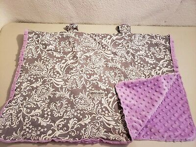 Carseat Canopy Brand Infant Cover toile gray lilac purple Minky Dot