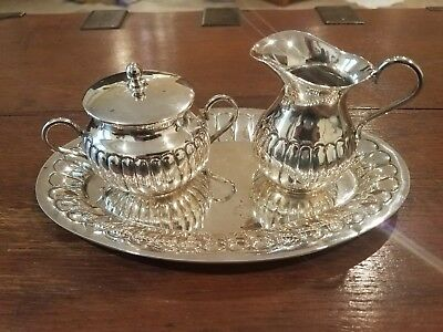 Vintage Signed Mexican Sterling Silver Tray, Creamer & Sugar 483 gr Not Scrap