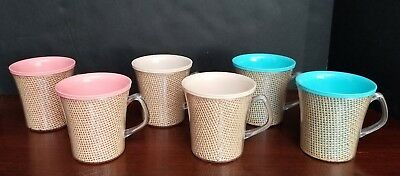 Lot of 6 - Vintage 1950's Burlap Plastic Insulated Melmac Mugs Picnic Wicker Cup