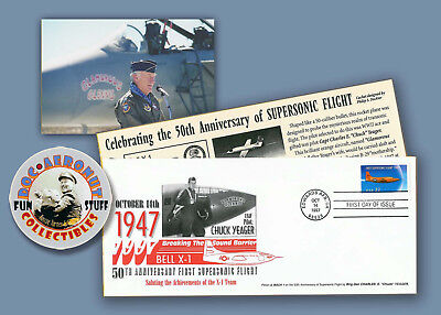 CHUCK YEAGER Bell X-1 50th Anniversary FDC FLOWN Cover Edwards AFB 1997 Rare!