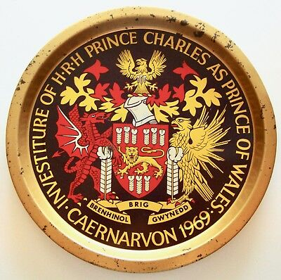 1969 Prince Charles Prince of Wales Investiture Metal Platter