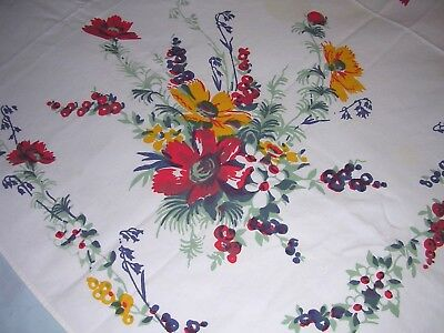 208A Vintage WILENDUR 100% COTTON TABLECLOTH Red Blue Yellow FLORAL 50x54""