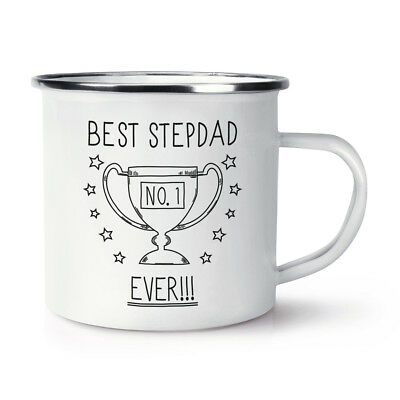 Best Stepdad Ever No.1 Trophäe Retro Emaille Becher Tasse - Lustig Vatertag