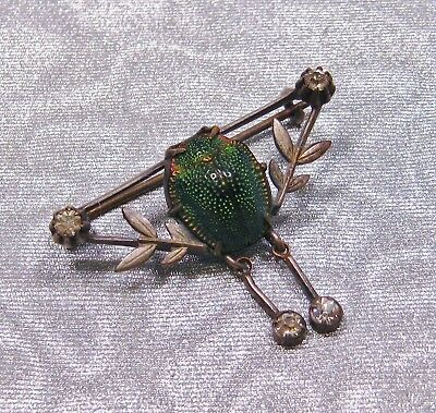 Antique Victorian 1890'S Real Scarab Beetle Egyptian Revival Festoon Brooch