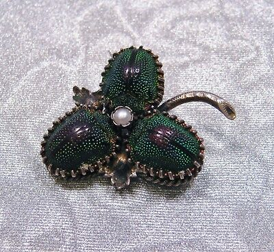 Antique Victorian 1890'S Real Scarab Beetle Egyptian Revival Clover Brooch Pin