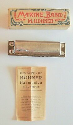 1897 Hohner Marin Band Harmonica in C in Original Box with Instructions