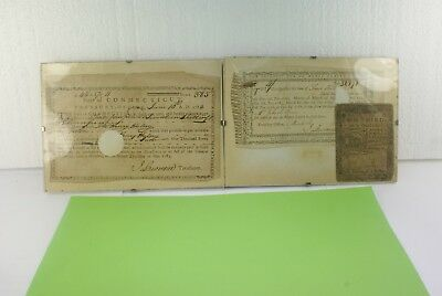 Lot Of 2 Antique 1784 Treasury Documents Two Thirds Of A Dollar Connecticut
