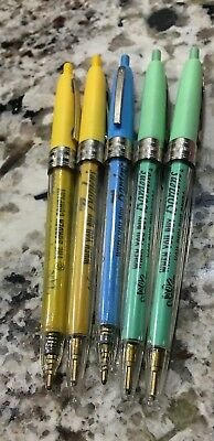 1950's Borden's Elsie the Cow Pen Lot of 5 Green Blue Yellow