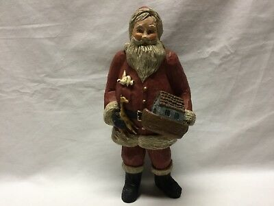 Santa Figurine Holding Noah's Ark, Giraffe, Rabbit in Pocket, Sack w/ Animals