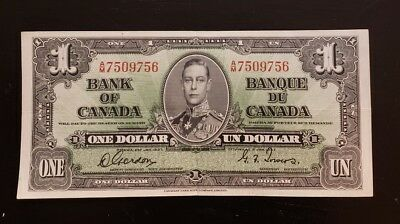 1937 Bank Of Canada One Dollar Gordon-Towers Xf+ No Reserve Super Nice Must See!