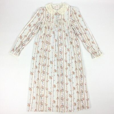 Vintage M&s Brushed Cotton Chintzy Floral Girl'S Smocked Lace Collar Nightdress