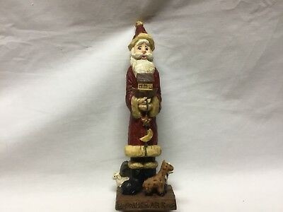 "Santa Figurine Holding Noah's Ark & Surrounded by Animals 7.5"" Tall"