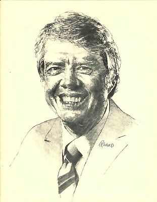 1976 Offset Lithograph Portrait Print of Jimmy Carter by Alan Reingold-FREE SHIP