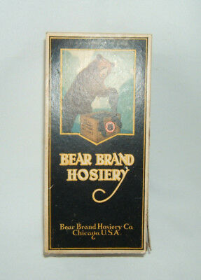Vintage 1920's Bear Brand Hosiery Box, Chicago USA. Good colors, great graphics