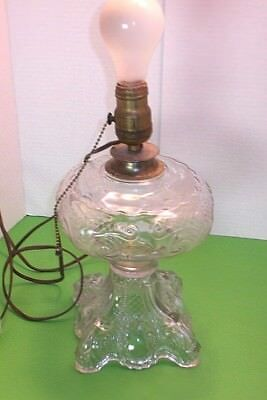 Princess Feathers Oil Lamp Coverted to Electric Clear Glass