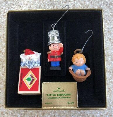 1979 Hallmark Ornament Little Trimmers 3pc Collection Mouse Soldier & Angel IOB