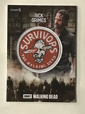 2018 Topps Walking Dead Season 8 Rick Grimes Commemorative Patch Card Mud /50