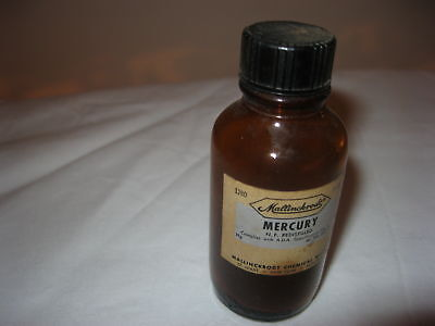 Vtg Mallinckrodt Amber Mercury Bottle