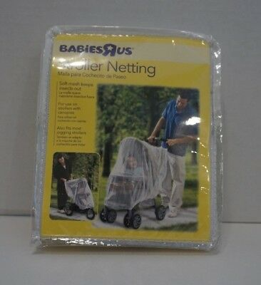 NEW In Package Babies R Us Stroller Netting White Soft Mesh w/ Elastic For Fit