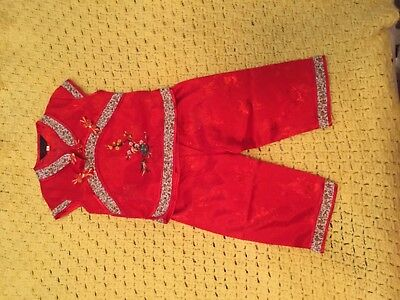traditional chinese outfit size red embroidered