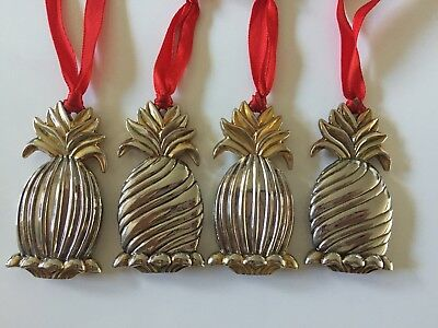 Lenox Williamsburg Silver Plated Hospitality Pineapple Set Of 4 Ornaments