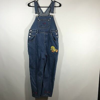 Looney Tunes Girl Youth Size 12 100% Cotton Tweety Bird Overalls