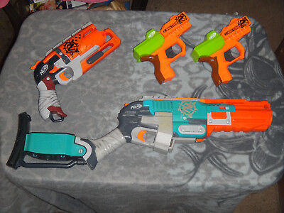 Lot of 4 Nerf Zombie strike Dart Guns Blasters: SLEDGE FIRE Hammershot RICOCHET