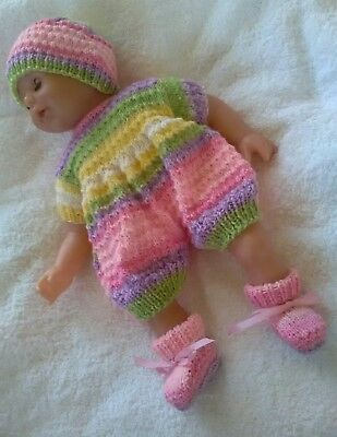 """Sweet Hand knitted 18"""" Premmie Baby reborn set. Romper, beanie and booties"""