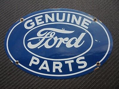 """Ford Genuine Parts Porcelain Sign 11"""" X 16.5"""" Mustang Cobra F150 Boss Shelby Can"""