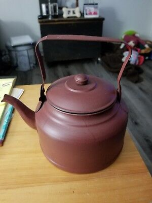 Burgundy Metal Tea Kettle