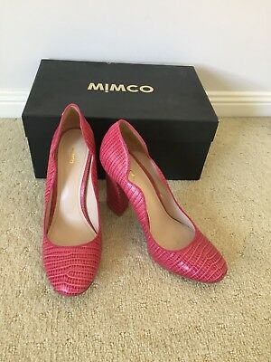 Mimco Women Shoes 40 High Heels 9 Pink Leather embossed slip on pump block snake
