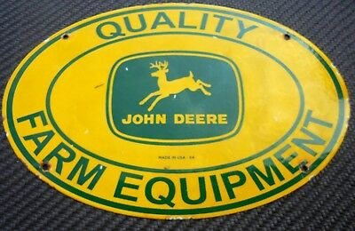 John Deere Quality Farm Equipment Porcelain Sign Seed Tractor Oil Gas Garage Can