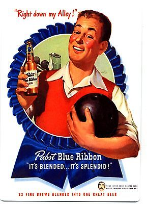 Pabst Blue Ribbon Beer - Large Metal Beer Fridge Magnet - Vintage Bowling Ad