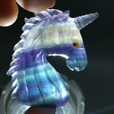 33g Hand Carved Natural 7color fluorite Gem Stone unicorn / Horse head reiki #61