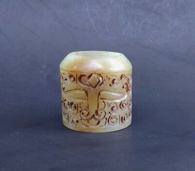 Chinese Exquisite Hand-carved beast carving Hetian jade Ring