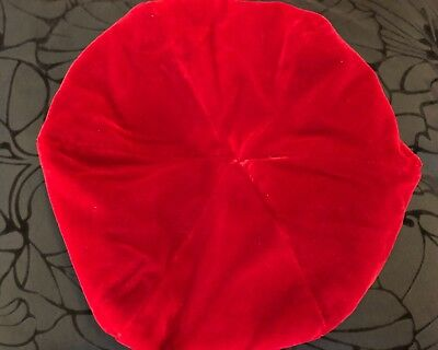 Vintage Red Velvet Beret/hat small Small fitted