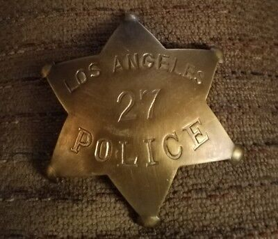 Los Angeles Badge Solid Metal Brass Finish Antique Style No. 27 Early Model SALE
