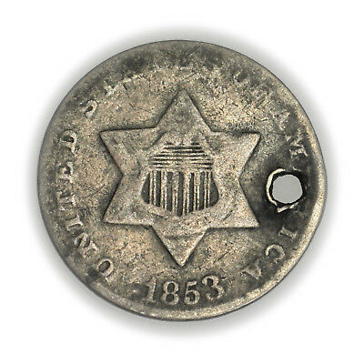 1853 Silver Three Cent, Small, Silver Coin, Holed, 3c [1171.20]