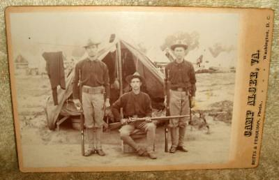 Circa 1898 Camp Alger Album Cabinet Card Spanish Am War Soldiers with Rifles