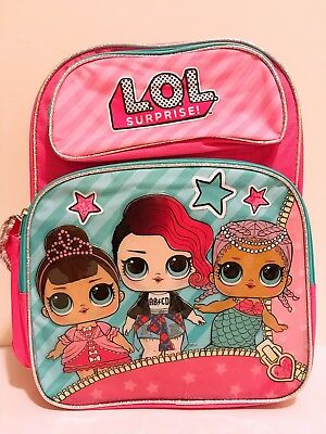 """LOL Surprise! Girls Doll 16"""" Back to School Book Bag Backpack Pink/Blue NWT"""