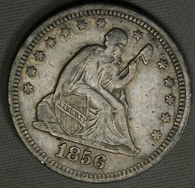 1856 25C Liberty Seated Quarter Nice Details Higher Grade VF + XF