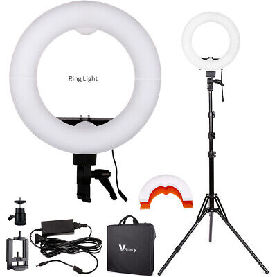 "Vamery 38W 12"" 5500K Bi-Color LED Dimmable Ring Light with 2m reverse Stand"