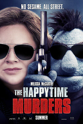 """HAPPYTIME MURDERS 2018 Advance Teaser DS 2 Sided 27x40"""" US Movie Poster McCarthy"""
