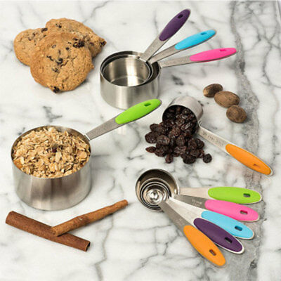 Stackable 10 Piece Measuring Cups And Spoons Set With Stainless Steel Material A