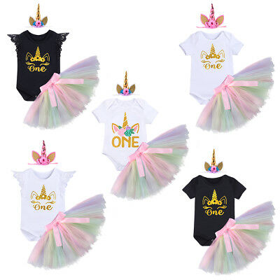 Baby Girl 1st First Birthday Fancy Dress Outfit Unicorn Party Cake Smash Costume
