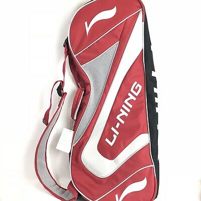 Li-Ning Badminton Racket Bag, Red/White/Black With Strap. Fits 2 Rackets