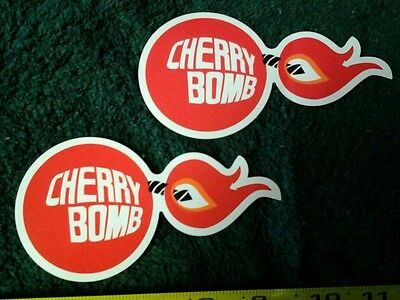 Lot of 2 Vintage Cherry Bomb Glass Pack Muffler Decals Stickers Rat Hot Rod