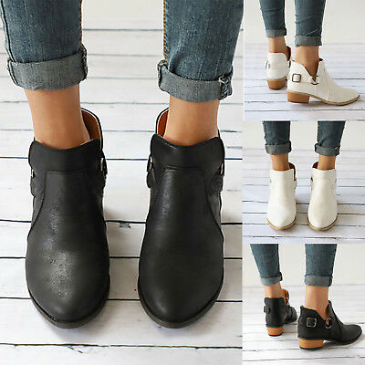 Womens Leather Ankle Boots Flats Ladies Casual Sandals Beach Low Heel Shoes Size
