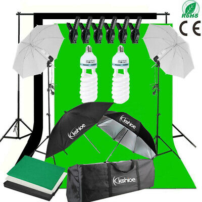 Photography Studio Umbrellas Lighting Kit White Black Green Backdrop Light Stand